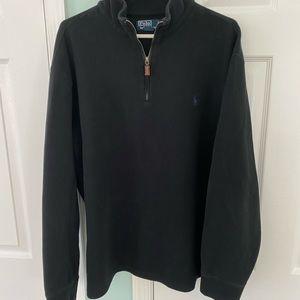 Vtg Polo Ralph Lauren Black 1/4 Zip Sweater XXL